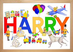 Harry with dogs and toys